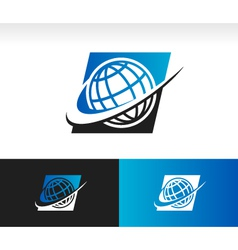 Swoosh World Logo Icon vector