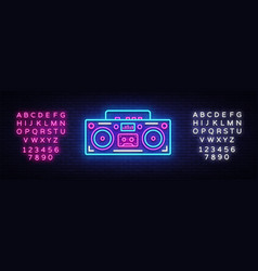 Tape recorder neon signboard retro music vector