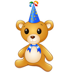 teddy bear cartoon celebrating birthday vector image