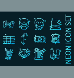 Theater set icons blue glowing neon style vector