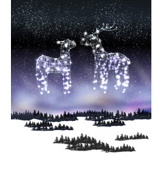 two reindeer from lamp and wire on winter vector image