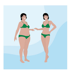 Two women different sizes in swimsuits before vector