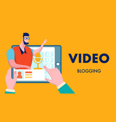 video blogging business flat vector image