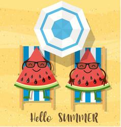watermelons cartoon character vector image