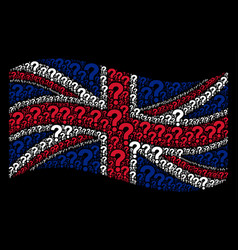 Waving great britain flag mosaic of question icons vector