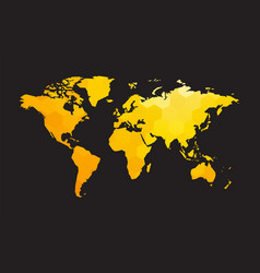 yellow world map vector image