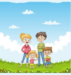 young family in the garden vector image