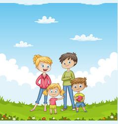 Young family in the garden vector