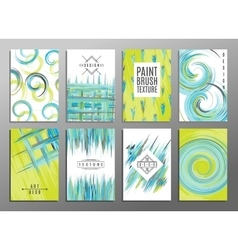 Collection of 8 hand drawn card templates Paint vector image vector image
