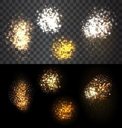 Festive set firework bursting various shapes vector image