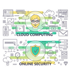 modern thin line cloud computing and online vector image vector image