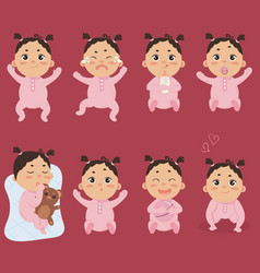 cute little baby in footies with different vector image vector image