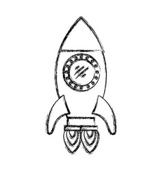 monochrome blurred silhouette of space rocket with vector image vector image