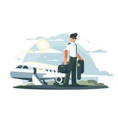 profession pilot of aircraft vector image vector image