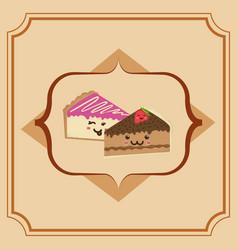sweet cake slice cartoon vector image vector image