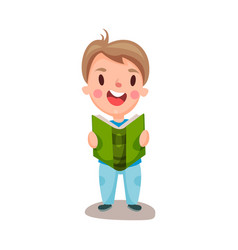 cute happy boy reading a book education and vector image vector image