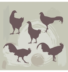 Hen and Rooster silhouette on grunge background vector image