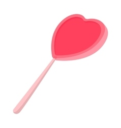 Pink candy on a stick in the form of heart icon vector image vector image