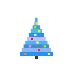 pixel art christmas tree blue pine vector image vector image
