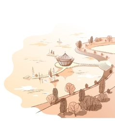 sepia linear landscape with quay and boats vector image vector image