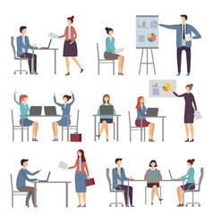 stylized business characters different dialogs of vector image vector image