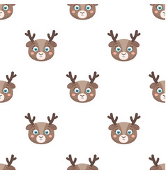 Deer muzzle icon in cartoon style isolated on vector