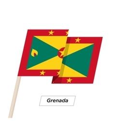 Grenada ribbon waving flag isolated on white vector