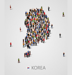 large group of people in south korea map form vector image vector image
