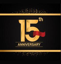15 years anniversary logotype with premium gold vector