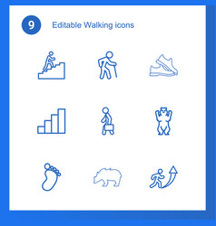 9 walking icons vector