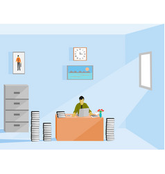 a business man is working in office vector image