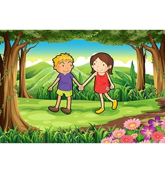 a girl and a boy at forest vector image