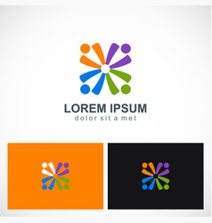 Abstract people group diversity logo vector