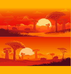 African savanna nature landscape at sunset vector