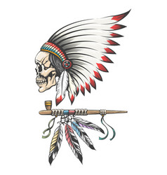 american indian chief skull and smoking pipe vector image