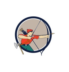 Archer Aiming Long Bow Arrow Cartoon Circle vector image