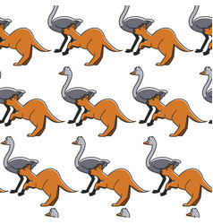 Australian animals seamless pattern ostrich and vector