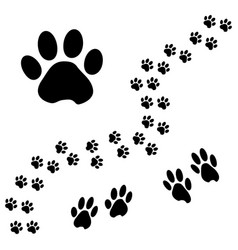 black animal paw track isometric effect vector image