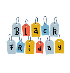 black friday sale tags for promotion discount and vector image