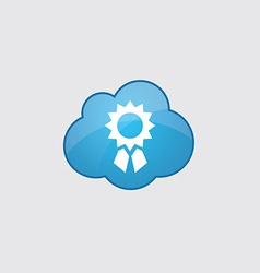 Blue cloud achievement icon vector