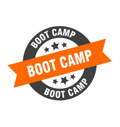 boot camp sign boot camp orange-black round vector image