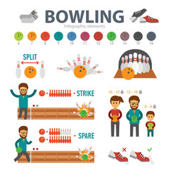 Bowling infographic elements isolated on white vector