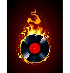Burning vinyl record vector image