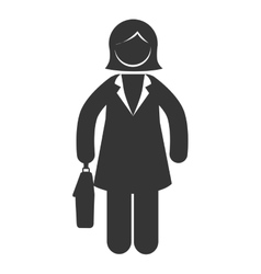 Business woman briefcase suit icon graphic vector