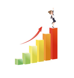 Business woman growing increase a graph success vector