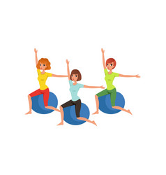 cartoon women characters doing exercise with vector image