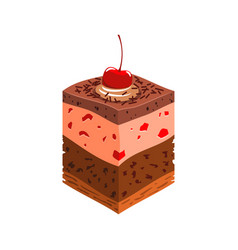 Chocolate biscuit piece cake cream and cherry vector