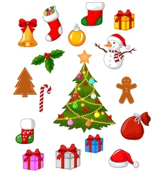 Christmas accessories collection set vector image