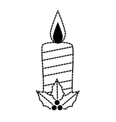 christmas paraffin candle with leafs vector image