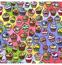 colorful cupcakes seamless background vector image